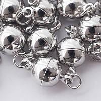Застежка магнитная из латуни, круглая с колечками, цвет серебро УТ100005153