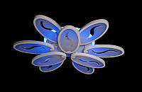 Светодиодная люстра с пультом-диммер и синей подсветкой белая1673S-6+3, фото 1
