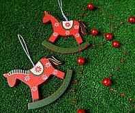 Новорічна прикраса коник дерев'яний 781-205, 9*7,5 см Новогоднее украшение лошадка деревянная