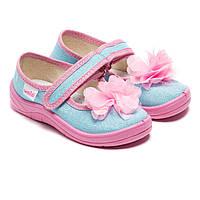 Тапочки Waldi для девочки, с цветочком, размер 24-30
