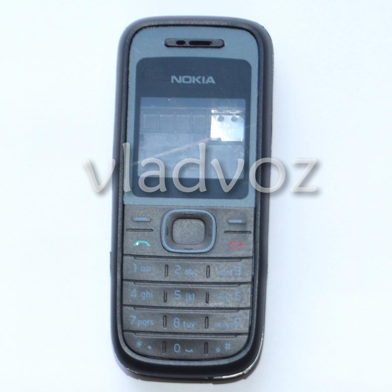 корпус для Nokia 1208 черного цвета с английской клавиатурой