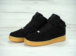 Кеды Nike мужские зимние на меху (черные с коричневой подошвой), ТОП-реплика