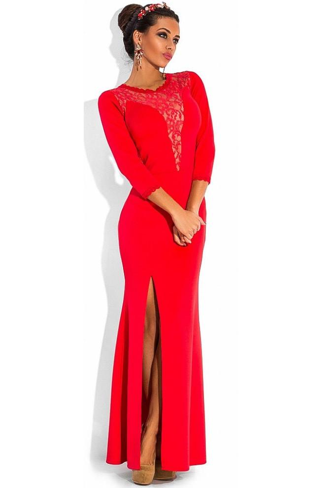 Красное вечернее платье с рукавом три четверти