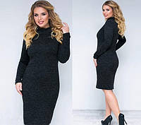 """Теплое платье-гольф по фигуре большие размеры из ангоры """"Crystall"""" черный 50, 52, 54 размеры!"""
