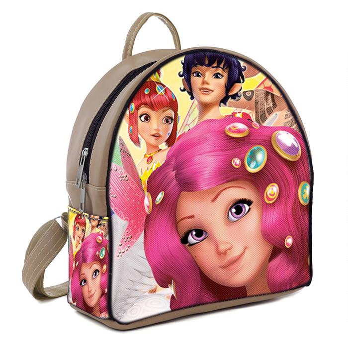 Бежевый детский рюкзак для девочки с принтом Мия и Я