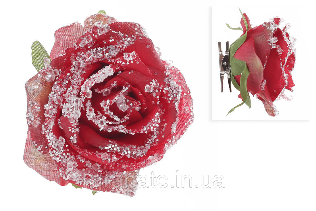 412da7454beb Декоративный цветок Роза на клипсе, красный во льду 15см (33шт) - GRANAT в