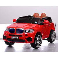 Детский электромобиль джип BMW красный, кожаное сиденье и MP4 планшет