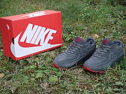 Кросівки Nike чоловічі шкіряні на хутрі (сірі), ТОП-репліка