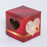 Подарочная упаковка для чашки Сердце (красная)