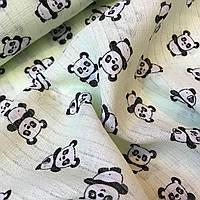 Муслин для детских подгузников панды на салатовом № 2-21