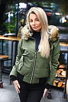 Модная зимняя куртка на синтепоне с мехом