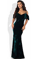 Изумрудное вечернее платье из бархата
