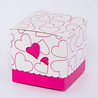 Подарочная упаковка для чашки с розовыми сердечками, фото 1