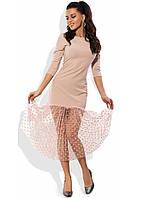 Кремовое платье с юбкой из сетки-флок в горошек