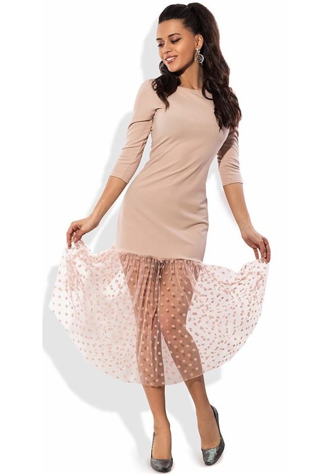 3303f37d8e9 Кремовое платье с юбкой из сетки-флок в горошек - Lace Secret - Магазин  женского
