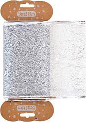 Лента декоративная 10 см*2 м, серебряная