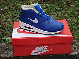 Кросівки Nike чоловічі шкіряні на хутрі (сині), ТОП-репліка