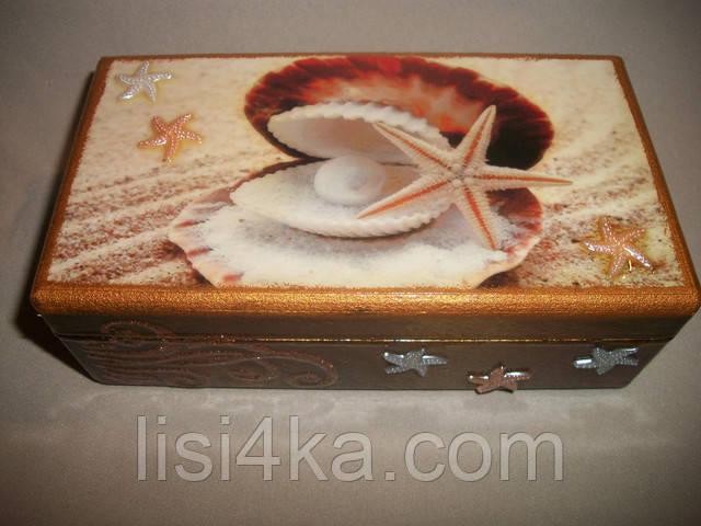 Деревянная коричневая купюрница с морским дизайном