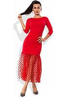 Красное платье с юбкой из сетки-флок в горошек