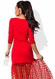 Красное платье с юбкой из сетки-флок в горошек, фото 2