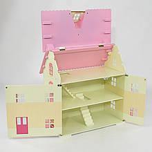 Деревянный кукольный домик Розовый