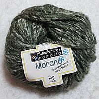 Пряжа кидмохер хлопок шерсть твид темнозеленый