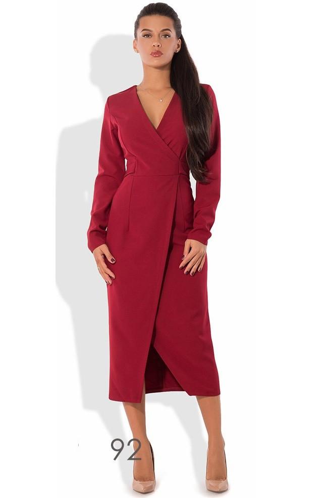 Бордовое платье миди с эффектом запаха