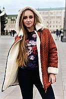 Женская куртка парка косуха на меху коричневая стеганная