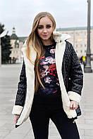 Женская куртка парка косуха черная стеганная на меху