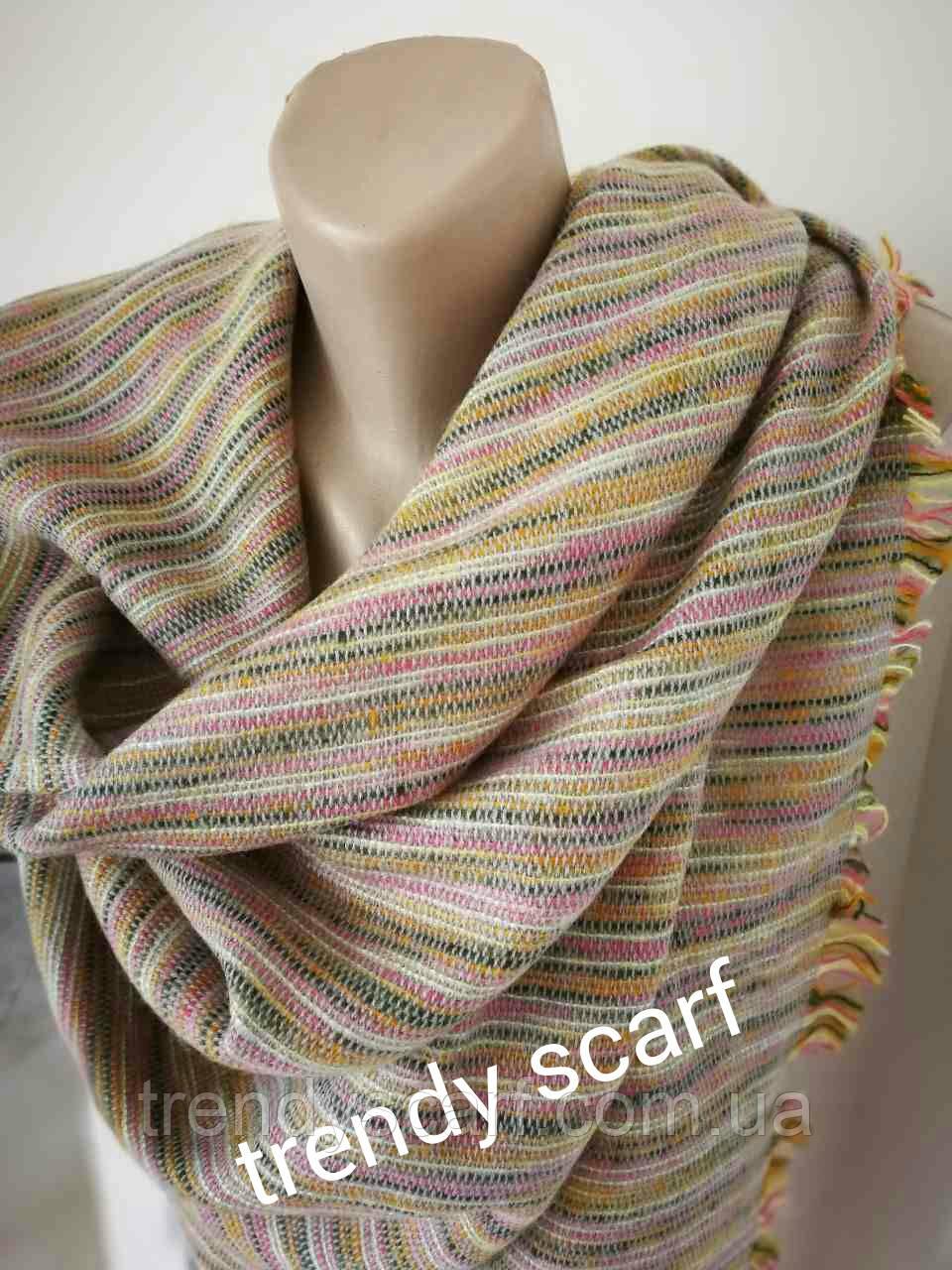 Женский платок плед. Полоска мелкая. Бежевый, желтый, зеленый, розовый, черный, шерсть, акрил. 150/150