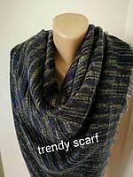 Женский платок плед. Полоска мелкая. Черный, желтый, синий, шерсть, акрил. 150/150