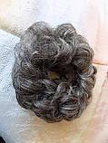 Резинка-шиньон из волос темная с сединой 977-8/101, фото 2