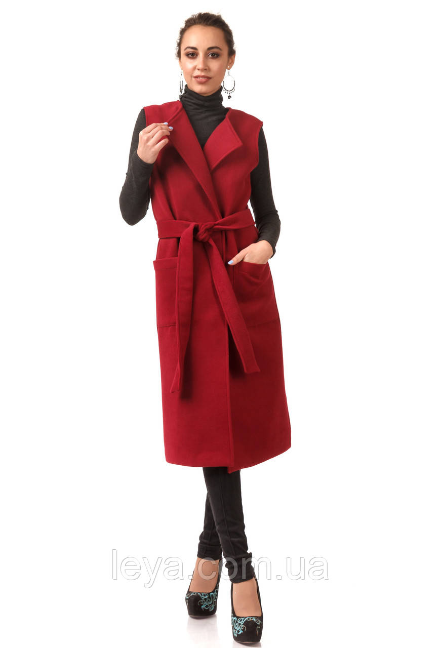 Женский удлиненный жилет из кашемира. Модель Ж004_бордовый., фото 1
