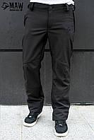 Soft Shell Мужские тактические брюки софтшелл на флисе влагоустойчевые MAW man&wolf черные