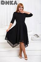 Платье Элегантное беби-дол ассиметрия чёрное Батал
