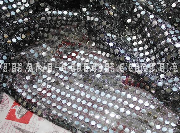 "Ткань с пайетками ""Копейка"" серебро, фото 2"