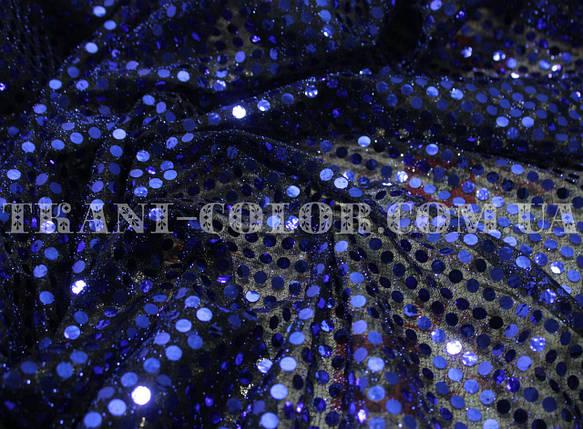"""Ткань с пайетками """"Копейка"""" темно-синяя, фото 2"""