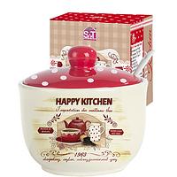 """Сахарница с ложкой 450мл """"Happy Kitchen"""" (d-11см, h-7,5 см)"""