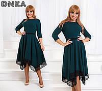 Платье Элегантное беби-дол ассиметрия зелёное Батал