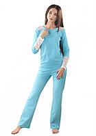Женская хлопковая пижама, голубая. рр. S-XL.