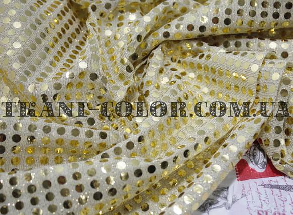 """Ткань с пайетками """"Копейка"""" золото на бежевом, фото 2"""