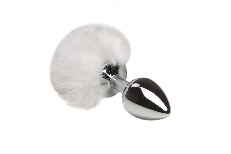 SLash - Металлическая анальная пробка Зайка, white, S