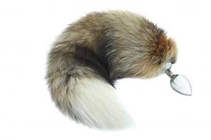 SLash - Металлическая анальная пробка с хвостиком, волк, S