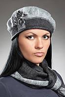 Женский вязаный берет и шарф в комплекте, фото 1