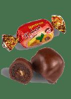 Шоколадные конфеты Курага в черном шоколаде с грецким орехом