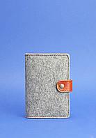 Обложка для паспорта 3.0 кожа + эко-фетр Коньяк, фото 1