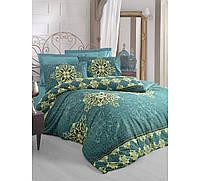 Сатиновое постельное белье евро размера Cotton box AZURA PETROL CB46