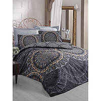 Сатиновое постельное белье евро размера Cotton box ELENOR SIYAH CB46