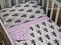 """Комплект сменного постельного в детскую кроватку, польский хлопок """"Моднявая зебра"""""""