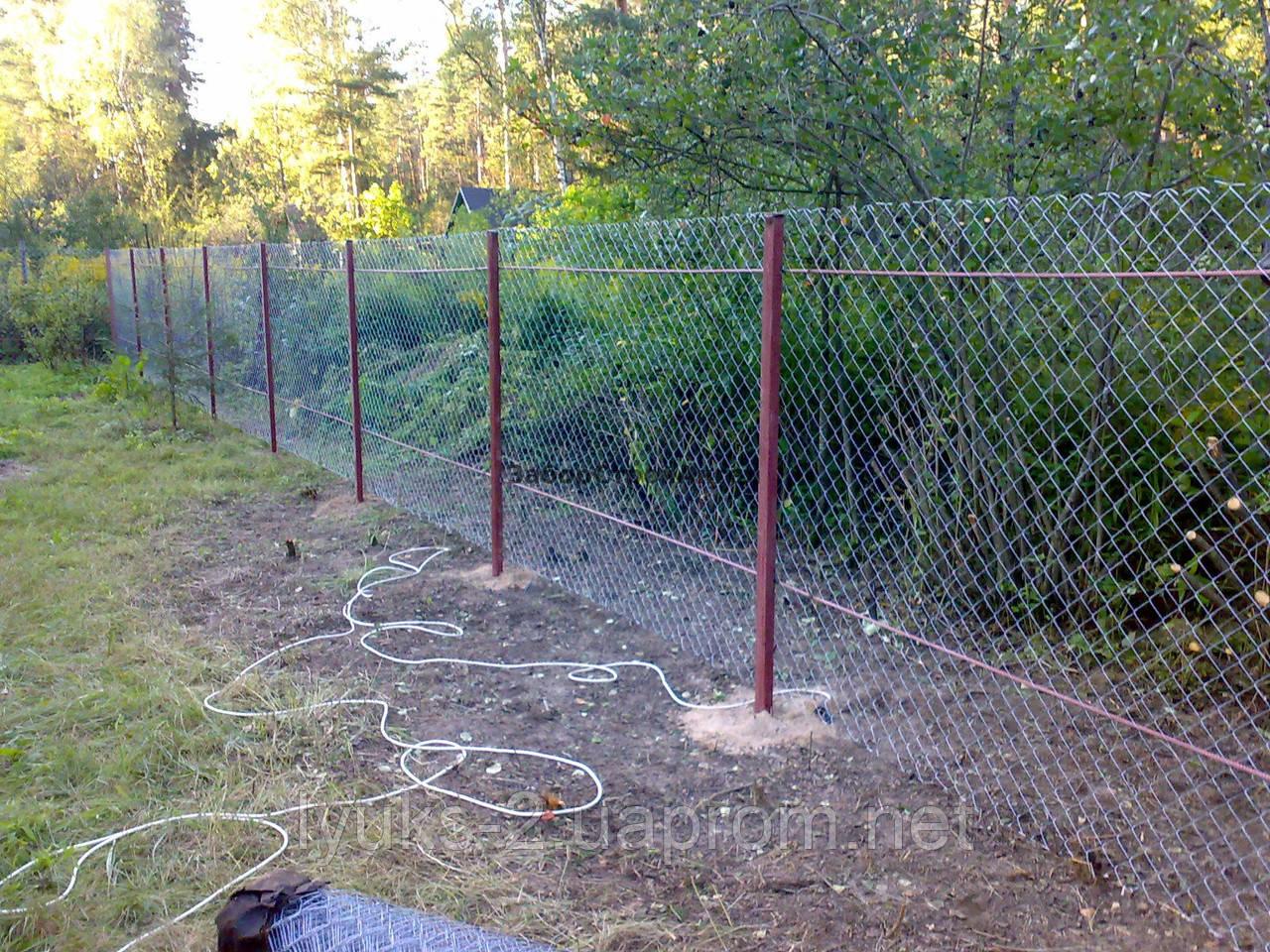 Забор из сетки рабица для дачи своими руками